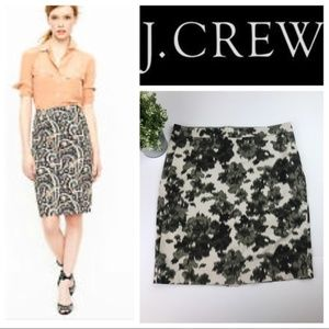 J. Crew Olive Green Gray Floral No 2 Pencil Skirt